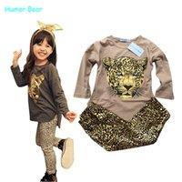 Wholesale Kids Clothes For Grils - Wholesale- Humor Bear NEW Leopard Kids autumn fashion clothes for girls Cartoon long-sleeved + pants suit grils student clothes