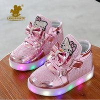 Wholesale Cheapest Kids Winter Shoes - 2017 New Cheapest Spring Autumn Winter Children's Sneakers Kids Shoes Chaussure Enfant Hello Kitty Girls Shoes With LED Light