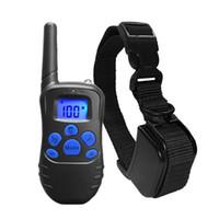 ingrosso collare di formazione impermeabile ricaricabile-330 Yards impermeabile ricaricabile Cani telecomando collana di collare elettronico di controllo LCD per strumento di addestramento del cane