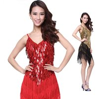 Wholesale Women Zebra Costume - 2016 New Luxury Performance Stage Dance Wear Women Latin Dress Woman Latin Costume Dresses Fringe Cha ChaDancewear 4 Color