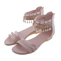 Wholesale Hollow Wedge Heels - Bohemia Gladiator Weave Hollow PU Beading Wedges Shoes for Women Summer Ladies Sandals sandalias mujer Size 36-40 Woman Shoe+B