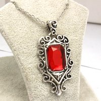 Wholesale-The Mortal Instruments: Cidade dos Ossos Deadly Isabel Red Crystal Angel Statement Necklace New Arrival Vintage Pendant Necklace