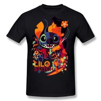 Wholesale Stitching Designs Shirts - Lilo And Stitch Cartoon Printed Fashion Design US Size 2017 new High Quality 100% Cotton men's T Shirt cheap sell Free shipping