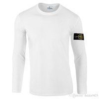 Wholesale Collared T Shirts For Men - European and American style long sleeve 2017 Brand t shirt for Men T-Shirts Mens stone Casual Long Sleeves O-neck island T-Shirt JACKET 7600