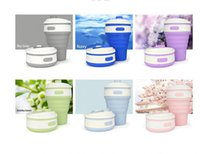 Wholesale Fruit Coffee Mugs - Silicone Cups Water Coffee Collapsible Cups 350ml Fruit Juice Folding Food Grade Portable Travel Mug Flexible Outdoor Cup 6 color KKA2161