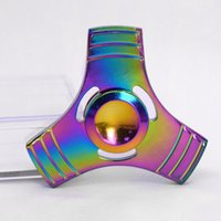 Wholesale Wholesale Stock Wheels - Rainbow EDC Hand Spinner Tri Fidget Focus Desk Toys Stocking Stuffer Kids Adult Puzzle Toy hand helicopter finger spinning wheel