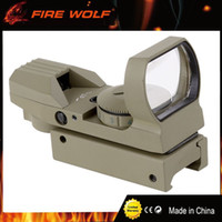 Wholesale Red Dot Tan - FIRE WOLF Holographic Scope Reflex Sights Green Red Dot Sight With 4 Reticle Fit For 20mm Rail Gun TAN Color