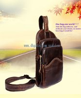 Wholesale Leather Cycle Bags - 2017 new arrival men real genuine leather causal chest cross body bag for outdoor activities hiking fishing cycling sport business trip bag