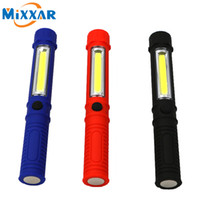 Wholesale Pen Drive Light - Portable LED COB Mini Pen Multifunction LED Torch Light cob Handle work flashlight Work Hand Torch Flashlight With the Bottom Magnet
