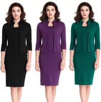 Wholesale Purple Work Dress - 2017 Time-limited Rushed Wear To Work Black Purple Green 2017 Best Selling Women Dresses Celebrity 2 Pcs Vintage Day Dress Pencil Bodycon