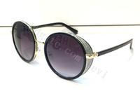 espejo redondo al por mayor-2016 Free Ship nueva moda gafas de sol de las mujeres diseñador de la marca vintage forma redonda googles con lente de espejo brillante marco de cuero de piedra