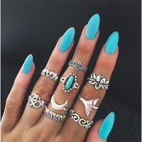 Wholesale Silver Plated Turquoise Rings - Newest 9pieces set joint ring for women wide index finger bohemian rings retro totem carved geometric rings with elephant lotus fishtail