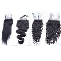 Wholesale human hair lowest prices for sale - Group buy Lowest Price Malaysia Human Hair Lace Closure X4 Size Loose Body Wave Straight Deep Kinky Curly Yaki Human Hair Closures