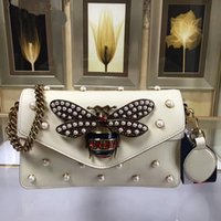 Wholesale Bag Elegant Black White - The new high-end custom brand design luxury real leather Fashion and elegant high quality pearl women's Inclined shoulder bag