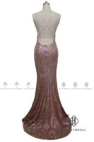 Wholesale Drop Waist Pageant Dresses - HarveyBridal Sexy Drop Waist Backless Rose Gold Sequined Pageant Dresses 2017 Mermaid Cross Back Deep V-neck Evening Gowns Vestidos de baile