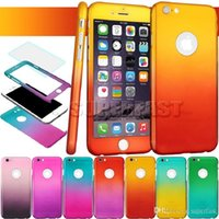 Wholesale Exclusive Cases - For Iphone 6S Cases Screen Protection With Exclusive Tempered Glass 360 Degree Full Protect Case Fashion Colorful With DHL Free Shipping