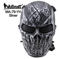 Wholesale WoSporT Tactical Skull Masks Hood Airsoft Paintball Steel Full Face Mask Protective Field Wargame Cosplay CS Prop Halloween Party Masks