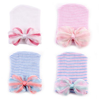 Wholesale Newborn Butterfly - New Baby Caps 2017 Stripe Butterfly Knit Girls Hat Europe Style Colored Bow Knitting Newborn Hats Infant Caps C805
