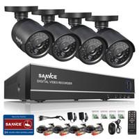 güvenlik kamerası dvr kitleri toptan satış-Cctv kablosuz kamera wifi SANNCE HD 4CH CCTV Sistemi 960 H 1080 P HDMI DVR Kiti 800TVL Açık Güvenlik Su Geçirmez Gece Görüş