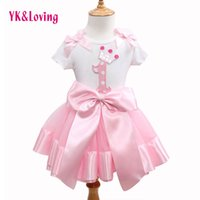 Wholesale Tshirt Tops Skirts - Wholesale- Fashion 2016 Hot Cute Baby Girl Clothing Set Flower Top TShirt+Bow Princess Tutu Skirts Children Clothes Kid Wear Brand Clothing