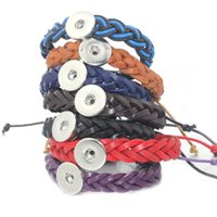 Wholesale wholesale leather lace for jewelry - 7 colors 18mm Snap Button adjustable Leather Bracelet DIY Jewelry For Women Retro Braided Lace Bracelet Snap button Jewelry