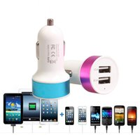 Wholesale Uk Iphone5 - Promotion Metal 3.1A Dual USB 2 Port Car Charger Adapter For Tablet Ipad Iphone5 6 6Plus Samsung S6edge Note4 Note3 Mobile Phone