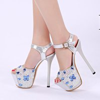 Wholesale High White Crystal Sexy Wedges - Women Summer Sandals Sexy Crystal Transparent Waterproof Slipper Wedge Heels and High-heeled Sandals Ultrastable Nightclub and Party