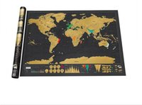 Wholesale 82x59cm Luxury edition Scratch Off World Map office school suppliers paper Scratch Map home decoration maps adventure Traveller world map