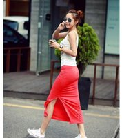Cheap New Fashion Cotton Thin Woman Jupe d'été Side Split Slit Maxi Jupe Lady Package-Hip Straight Slim Modal Long Skirt W563