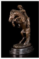 """Wholesale Money Collector - Vintage CRAFTS ARTS ATLIE BRONZES Bronze Statues Sculpture """"The Broncho Buster"""" by Frederic Remington Gifts collector Villa Decoration"""