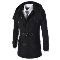 Wholesale Fashion Pea Coats - Wholesale- New Brand Duffle Coat Men 2016 Autumn Winter Fashion Design Wool Blend Trench Jacket Mens Pea Coat Overcoat Coat Men 2XL