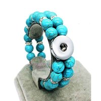 Wholesale Stretch Glass Bracelets - Hot Sale 3 colors 181 Candy 18mm Snap Button Charms Bracelets Bangle For Women Agates Beaded Expandable Bead Stretch Glass Bead