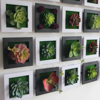 Wholesale Wood Photo Frames Wholesale - Wholesale-Black Creative 3D metope succulent plants Imitation wood photo frame wall decoration artificial flowers home decor living Room