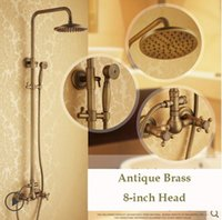 "Wholesale Antique Finish Shower Faucets - Dual Cross Handles Wall Mount Rainfall Shower Faucet Sets 8"" Brass Shower Head + Handheld Shower Antique Brass Finish"
