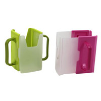Wholesale Wholesale Plastic Milk Bottle - Adjustable Plastic Safy Baby Toddler Kid Juice Milk Box Drinking Bottle Cup Holder Mug 1Pcs