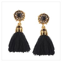2017 New Designs Long Tassel Brincos Mulheres Fashion Leather Tassels Dangle Earrings With Rhinestone Drop Earring Ear Drop Stud