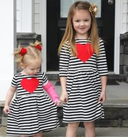 Wholesale Tutu Stripe Dresses - 2 Color Girl INS stripe heart-shaped Princess Dress New Children cartoon ins letters Long sleeve dresses kids clothes B001