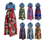 Wholesale Long Cotton Skirt Fashion - Womens African Print Dashiki Skirts Long Maxi A Line Skirt Ball Gown Maxi Dresses 20 Colour S-5XL