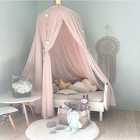 Wholesale Net Rod - Wholesale- Hanging Kid Bedding Round Dome Bed Canopy Bedcover Mosquito Net Curtain Home Bed Crib Tent Hung Dome Two Layer of Net Yarn 240CM