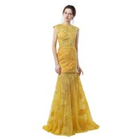 Wholesale Engagement Dress Long Sleeve - Engagement Dresses 2017 Robes De Soiree 2017 Longue Yellow Lace Mermaid Evening Dresses Sexy Backless Prom Dress