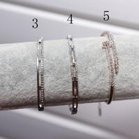 Wholesale Box Full Jewelry - 2017 Brand designer full crystal zirconia stone Bangle Bracelet letter Bangle 18K rose gold plated fashion jewelry best gift for lover gift