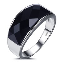 Wholesale Ring Men S Sterling - 2017 New arrival high quality black crystal 925 sterling silver men finger rings men`s wedding ring for man jewelry wholesale