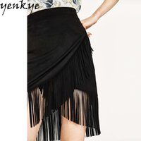black suede fringed skirt - European Style Women Black Suede Fringed Skirt Female Sexy Side Zipper High Waist Pencil Office Skirt faldas NRB8558