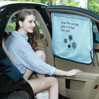 Wholesale Car Side Curtains - Double Layer Car Window Sunshade Curtain Foil Solar Protection Big Size Adjustable Auto Side Window Sunshades