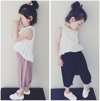 Wholesale Loose T Shirts For Girls - Fashion Kids Girls Clothing Set Cotton Linen Sleeveless T shirt Vest & Loose Pants Children's Casual Solid Sets for 3T-8T SA1310