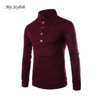 Wholesale Wholesale Wool Coat Man - Wholesale- 1PCS Men Sweater 2017 Brand New Fashion Casual Mens Slim Fit Pullover Warm Sweater Coat Turtleneck Knitwear High Quality Jan 5