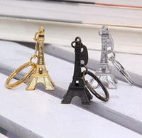 Wholesale key chain ring bronze for sale - Group buy Key Chain Charms Vintage Eiffel Tower Keychains Fashion Key Pendant Car Key Ring Gifts Zakka Wholesales Gold Sliver Bronze Accessories