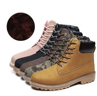 Wholesale Yellow Motorcycle Boots - Plus size(36-46) Boots Casual Men women's Winter Boots Leather Boots Men Winter Shoes Fur Warm Shoes Lover shoes