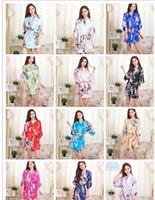 Wholesale Silk Chiffon Pajamas - 14 Colors S-XXL Sexy Women's Japanese Silk Kimono Robe Pajamas Nightdress Sleepwear Broken Flower Kimono Underwear D713
