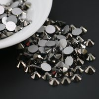 Wholesale Glass Rhinestones Bulk - Hematite Color with ss3 to ss30 in bulk stock stone glass Non Hotfix Rhinestone Flack back beads with silver back